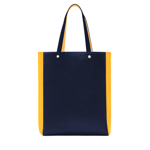 Medium Leather Tote Bag, Navy