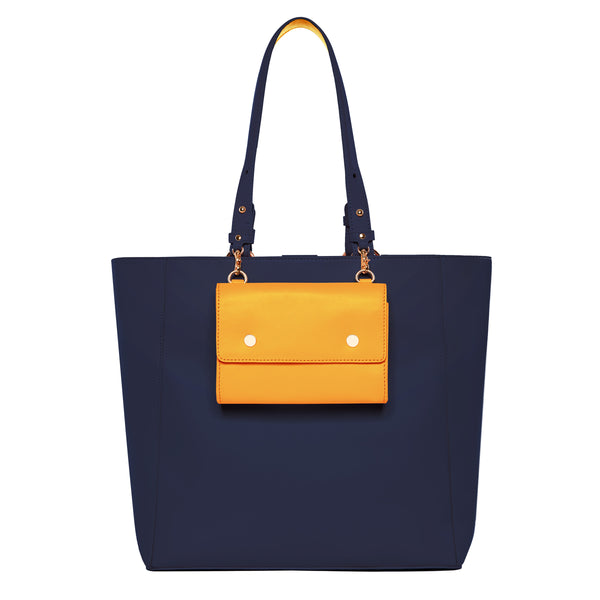 Large Leather Tote Bag, Navy