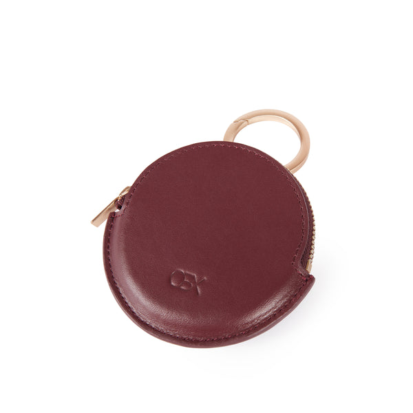 Round Coin Purse, Bordeaux