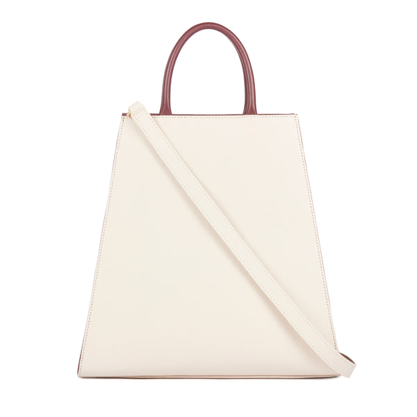 Top-handle Leather Bag, Beige