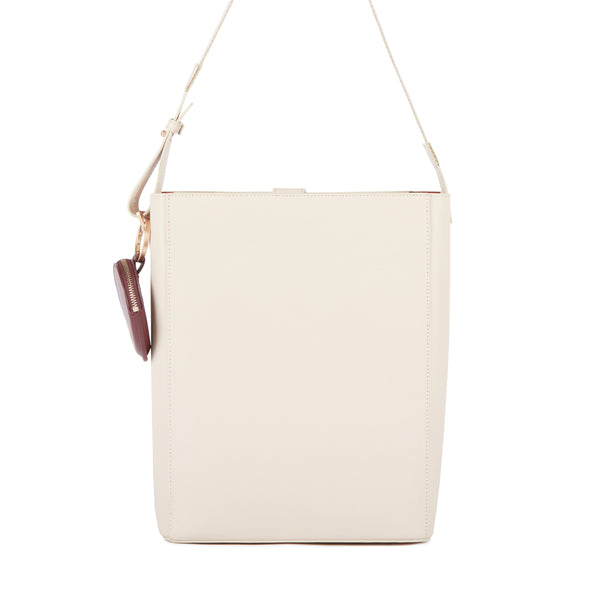 Leather Shoulder Bag, Beige