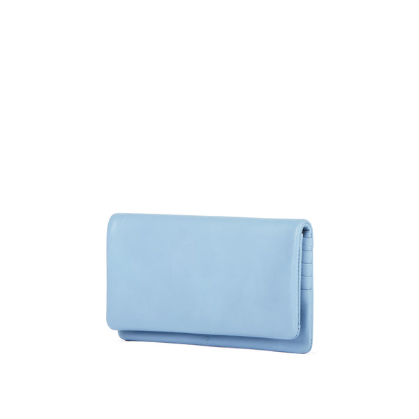 Leather Continental Wallet, Sky Blue