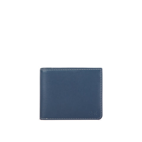 Leather Billfold Wallet, Navy