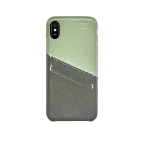 Leather Card Slot Case for iPhone X / iPhone Xs, Aloe Vera