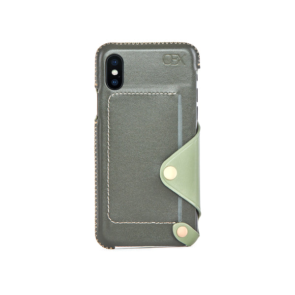 Leather Pocket Case for iPhone X / iPhone Xs, Aloe Vera