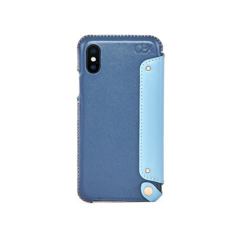 Leather Folio Case for iPhone X / iPhone Xs, Aqua