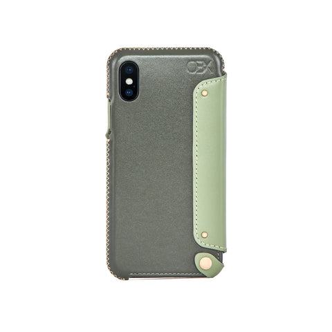 Leather Folio Case for iPhone X / iPhone Xs, Aloe Vera
