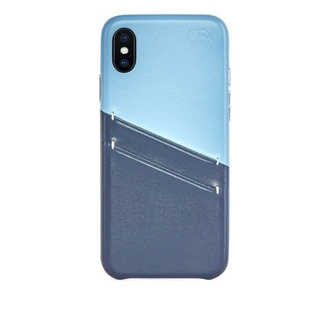Leather Card Slot Case for iPhone Xs Max, Aqua