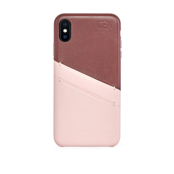 Leather Card Slot Case for iPhone Xs Max, Bordeaux