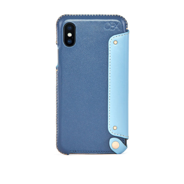 Leather Folio Case for iPhone Xs Max, Aqua