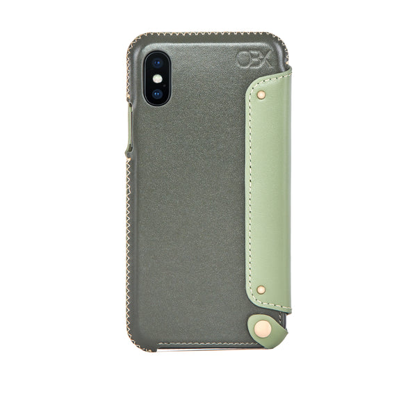Leather Folio Case for iPhone Xs Max, Aloe Vera