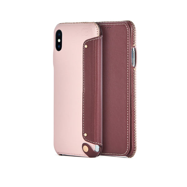 Leather Folio Case for iPhone X / iPhone Xs, Bordeaux