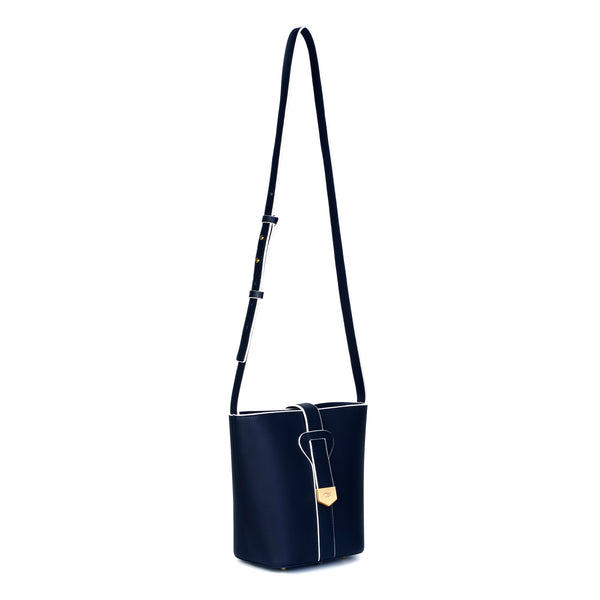 Snap Closure Bucket Bag, Blue Night