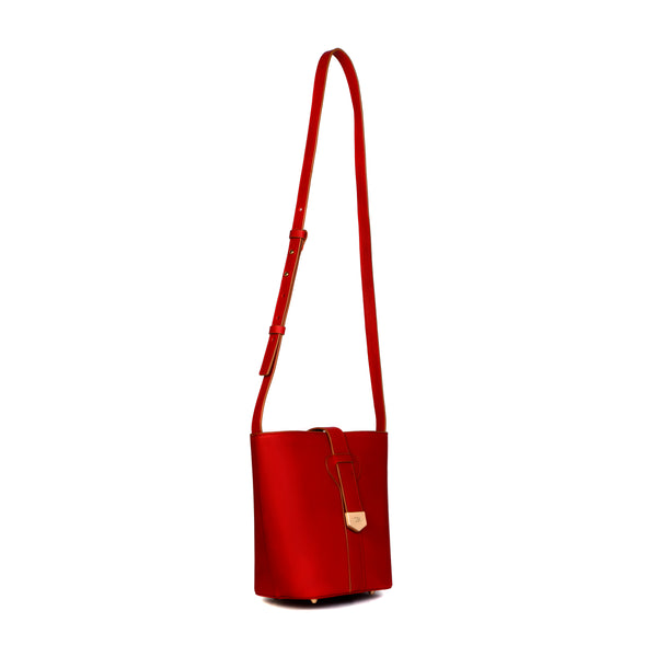 Snap Closure Bucket Bag, Tomato