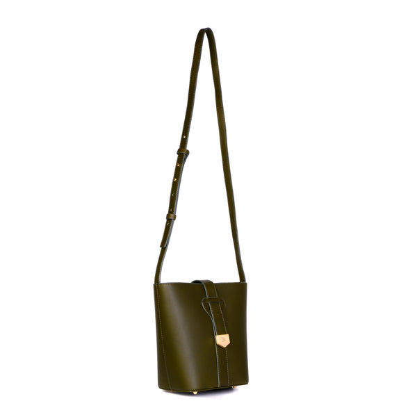 Snap Closure Bucket Bag, Olive Night