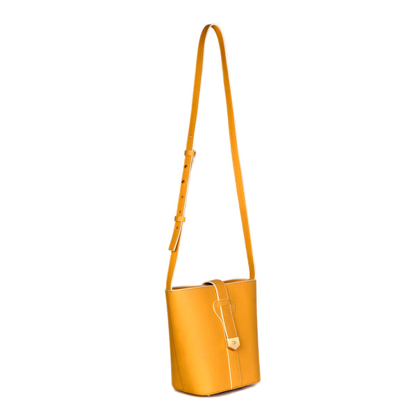 Snap Closure Bucket Bag, Inca Gold