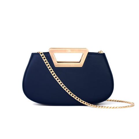 Trapezoid Handle Clutch Bag, Blue Night