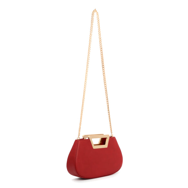 Trapezoid Handle Clutch Bag, Tomato