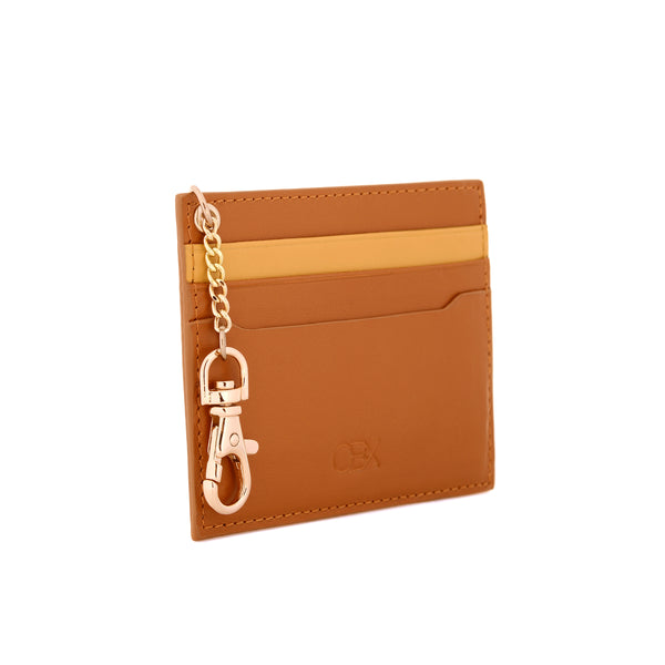 2 Tone Card Holder with Key Chain, Inca Gold / Glazed Ginger