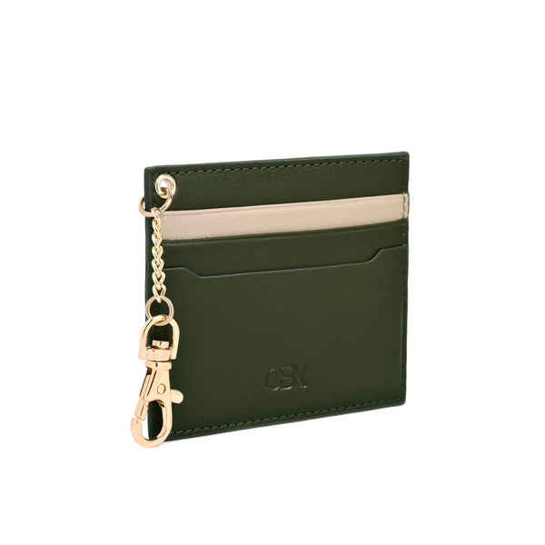 2 Tone Card Holder with Key Chain, Simply Taupe / Olive Night