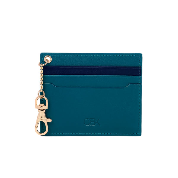 2 Tone Card Holder with Key Chain, Blue Night / Lyons Blue