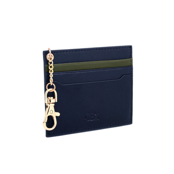 2 Tone Card Holder with Key Chain, Olive Night / Blue Night