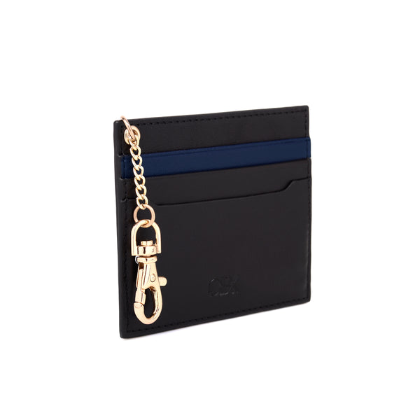 2 Tone Card Holder with Key Chain, Black / Blue Night