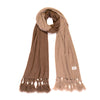 ECO Cashmere Scarf with Fringe, Light Taupe/Dark Earth