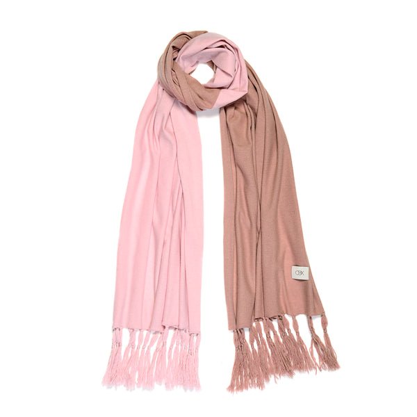 Baby Cashmere Scarf with Fringe, Sharon Rose/Crystal Rose