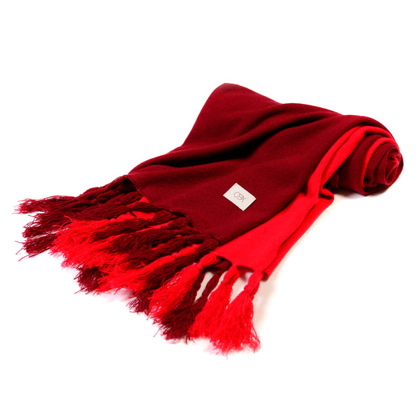 Cashmere Scarf with Fringe, Chinese Red/Jester Red