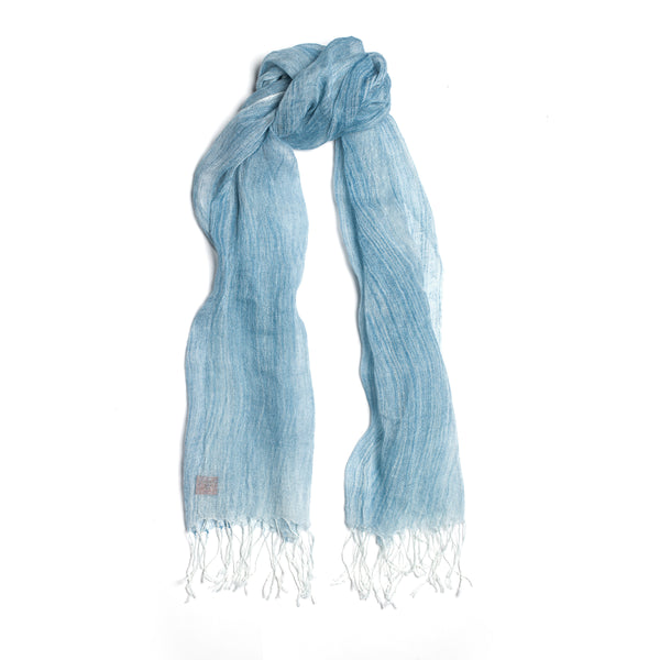 Brush-touch Fringed Linen Scarf, Sky Blue