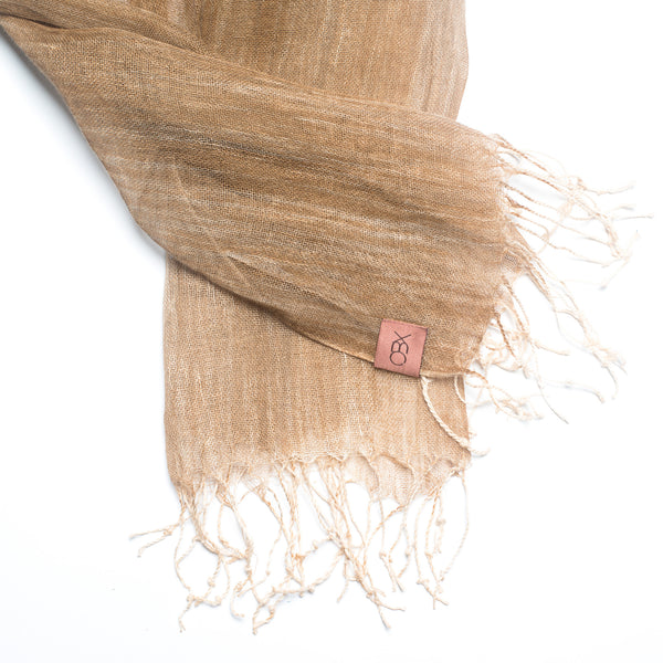 Brush-touch Fringed Linen Scarf, Desert Sand
