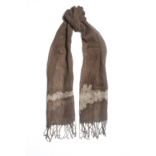 Uni-Stripe Fringed Linen Scarf, Dark Brown