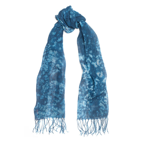 Patterned Fringed Linen Scarf, Ocean Blue