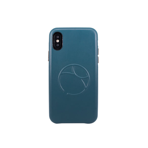Embossed logo snap on case for iPhone X, Green Blue