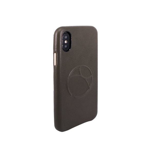 Embossed logo snap on case for iPhone X, Dark Green