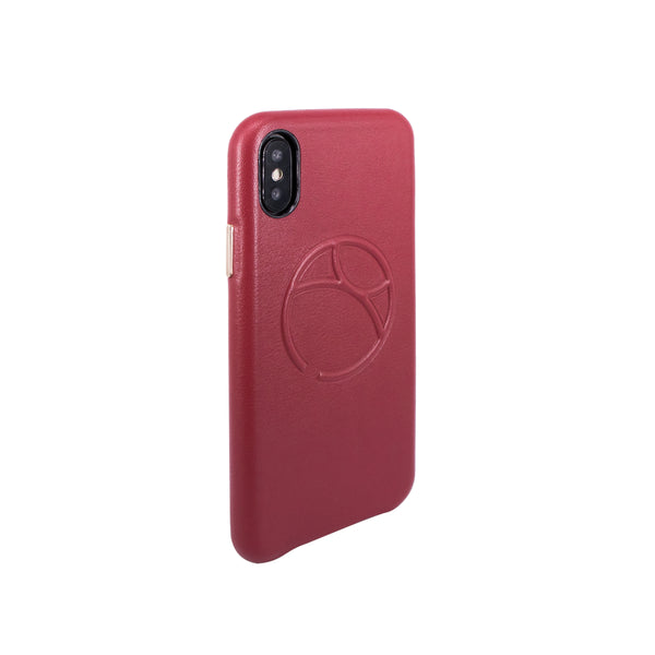 Embossed logo snap on case for iPhone X, Raisin