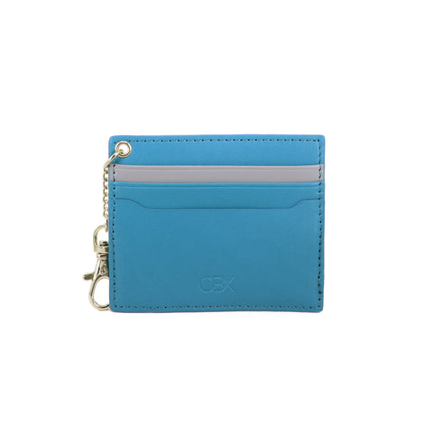 2 Tone Card Holder with Key Chain, Jeans Blue / Light Grey
