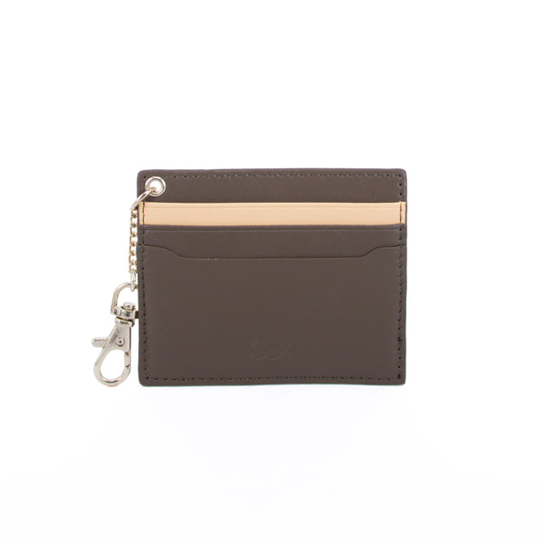 2 Tone Card Holder with Key Chain, Dark Green / Light Yellow