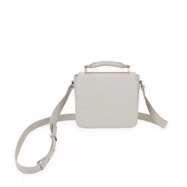 Small Flap Crossbody Bag, Light Grey