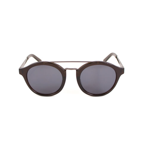 Rounded Brow-Bar Sunglasses, Dark Brown