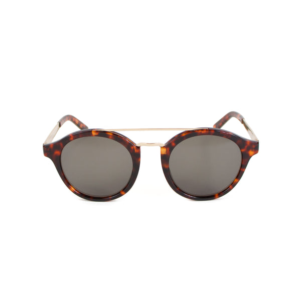 Rounded Brow-Bar Sunglasses, Tortoiseshell Walnut