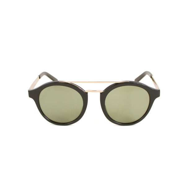 Rounded Brow-Bar Sunglasses, Dark Green