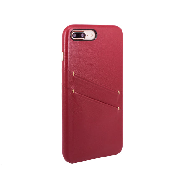 Leather Card slot case for iPhone 7 Plus / iPhone 8 Plus, Raisin