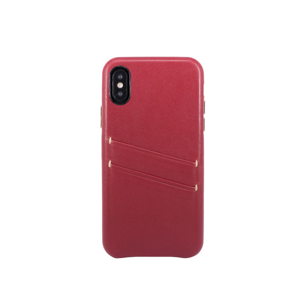 Leather Card slot case for iPhone X, Raisin