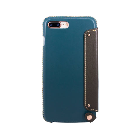 Leather Folio Case with Card Slot for iPhone 7 Plus / iPhone 8 Plus, Green blue/Dark green