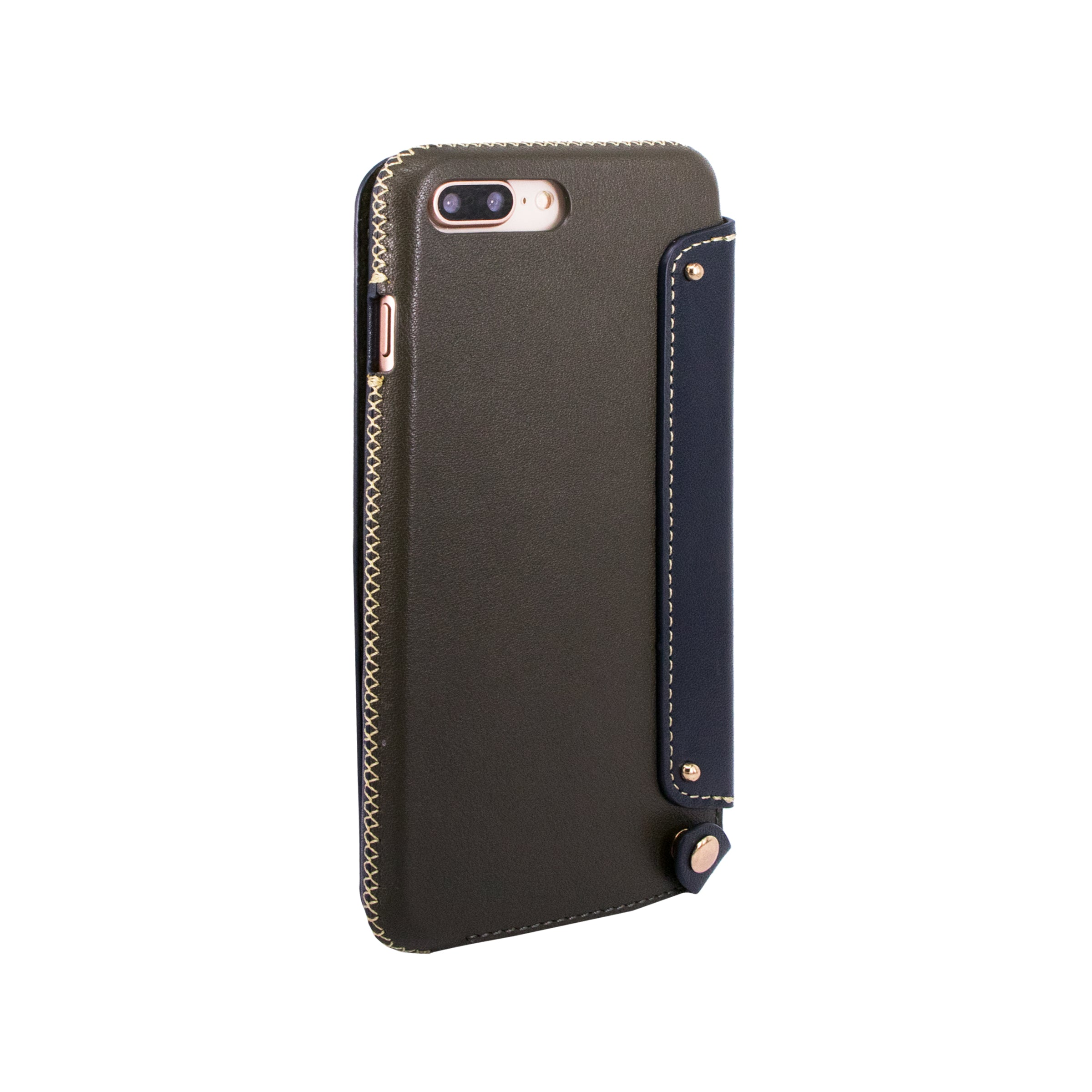 reputable site b767b 7b668 Leather Folio Case with Card Slot for iPhone 7 Plus / iPhone 8 Plus, Dark  green/Navy