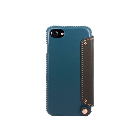 Leather Folio Case with Card Slot for iPhone 7/ iPhone 8, Green blue/Dark green