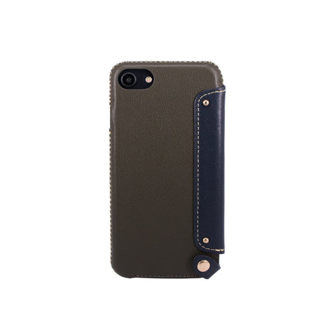Leather Folio Case with Card Slot for iPhone 7 / iPhone 8, Dark green/Navy