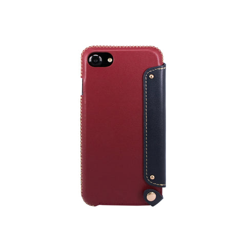 Leather Folio Case with Card Slot for iPhone 7 / iPhone 8, Raisin/Navy
